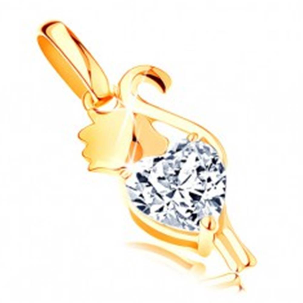 Šperky eshop Prívesok zo žltého 14K zlata - mačička so zirkónovým srdiečkom