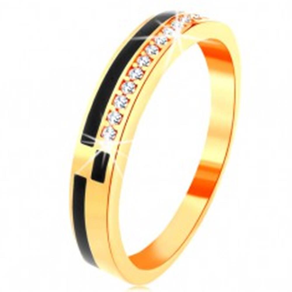 Šperky eshop Prsteň v žltom 14K zlate - pásy z čiernej glazúry, línia zirkónikov čírej farby - Veľkosť: 49 mm