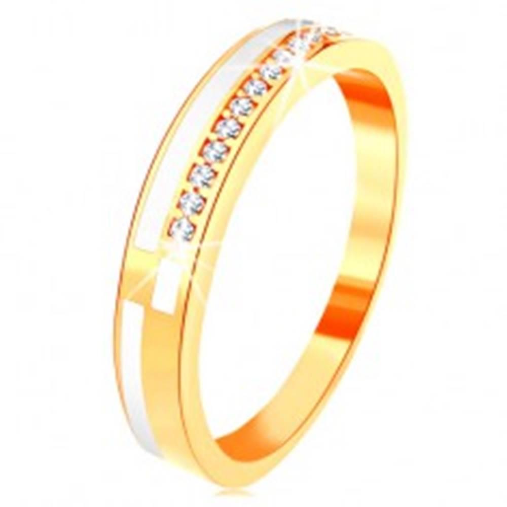 Šperky eshop Prsteň v žltom 14K zlate - úzke línie z čírych zirkónikov a bielej glazúry - Veľkosť: 49 mm