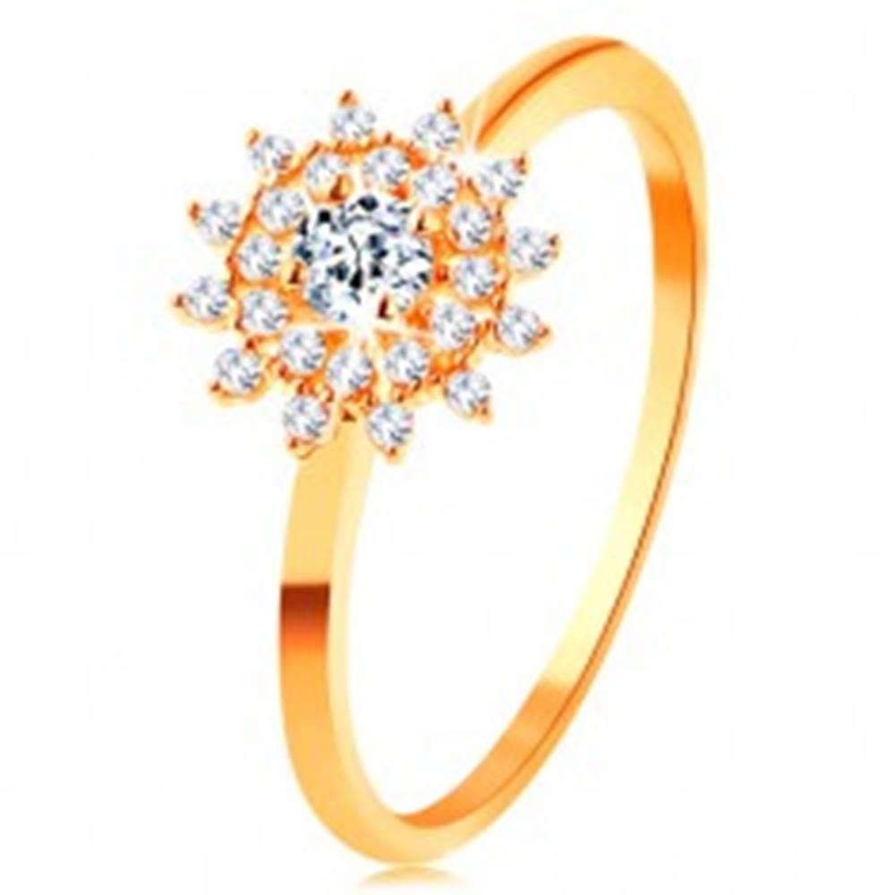 Šperky eshop Prsteň zo žltého 14K zlata - číre zirkónové slnko, lesklé tenké ramená - Veľkosť: 50 mm