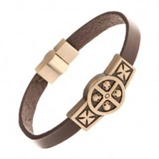 Hnedý kožený náramok so známkou mosadznej farby - lebky v kruhu, kríže