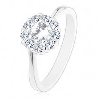 Lesklý prsteň v striebornom odtieni, žiarivý číry zirkónový kvietok - Veľkosť: 49 mm