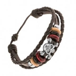 Multináramok z kože a šnúrok, korálky z ocele a dreva, lebka s kosťami