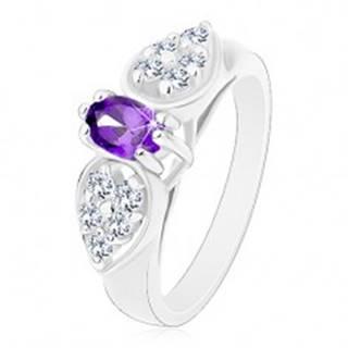 Prsteň s rozšírenými ramenami, číra zirkónová mašlička s fialovým oválom - Veľkosť: 52 mm