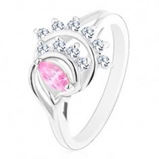 Prsteň striebornej farby, ružové zrnko, oblúky z čírych zirkónov - Veľkosť: 50 mm