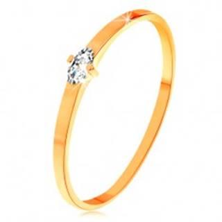 Prsteň v žltom 14K zlate - číry zrniečkový zirkón, úzke hladké ramená - Veľkosť: 49 mm