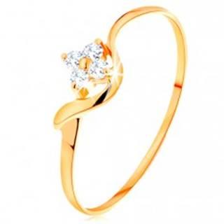 Prsteň zo žltého 14K zlata - číry zirkónový kvietok, zvlnené rameno - Veľkosť: 49 mm