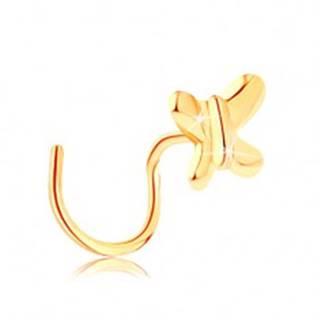 Zahnutý piercing do nosa zo žltého zlata 585 - malý lesklý motýlik