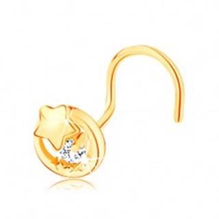 Zahnutý zlatý piercing 585 - obrys kruhu s hviezdičkou a čírym zirkónom