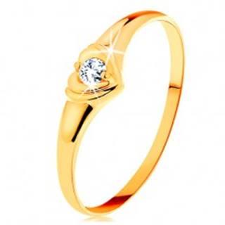 Zlatý prsteň 585 - ligotavé srdiečko so vsadeným okrúhlym zirkónom - Veľkosť: 50 mm