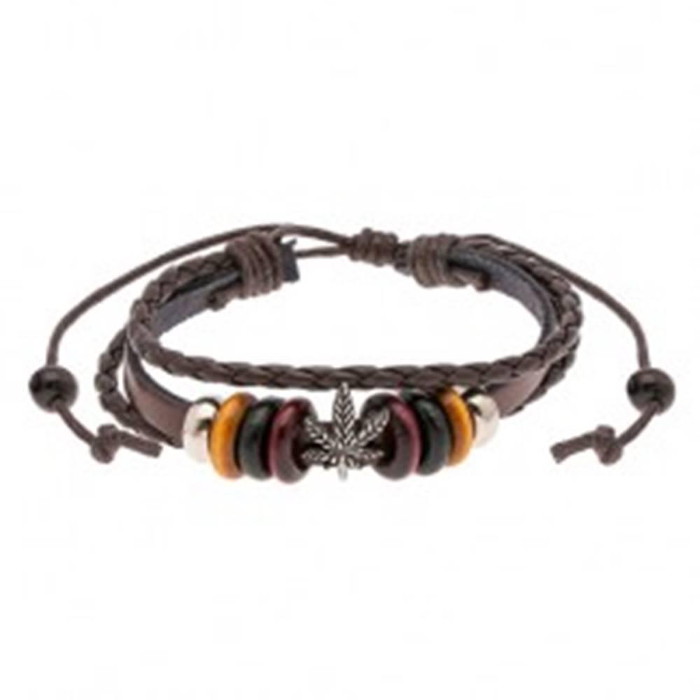 Šperky eshop Multináramok zo syntetickej kože, oceľové a drevené korálky, list marihuany