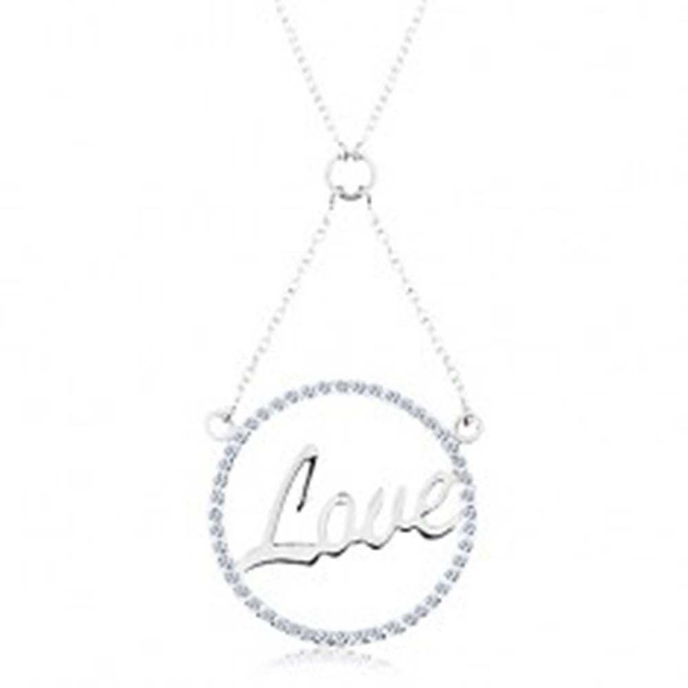Šperky eshop Náhrdelník zo striebra 925, retiazka a prívesok - zirkónová obruč, nápis Love