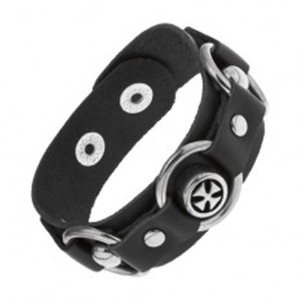 Šperky eshop Náramok z čiernej umelej kože, lesklé oceľové kruhy, maltézsky kríž