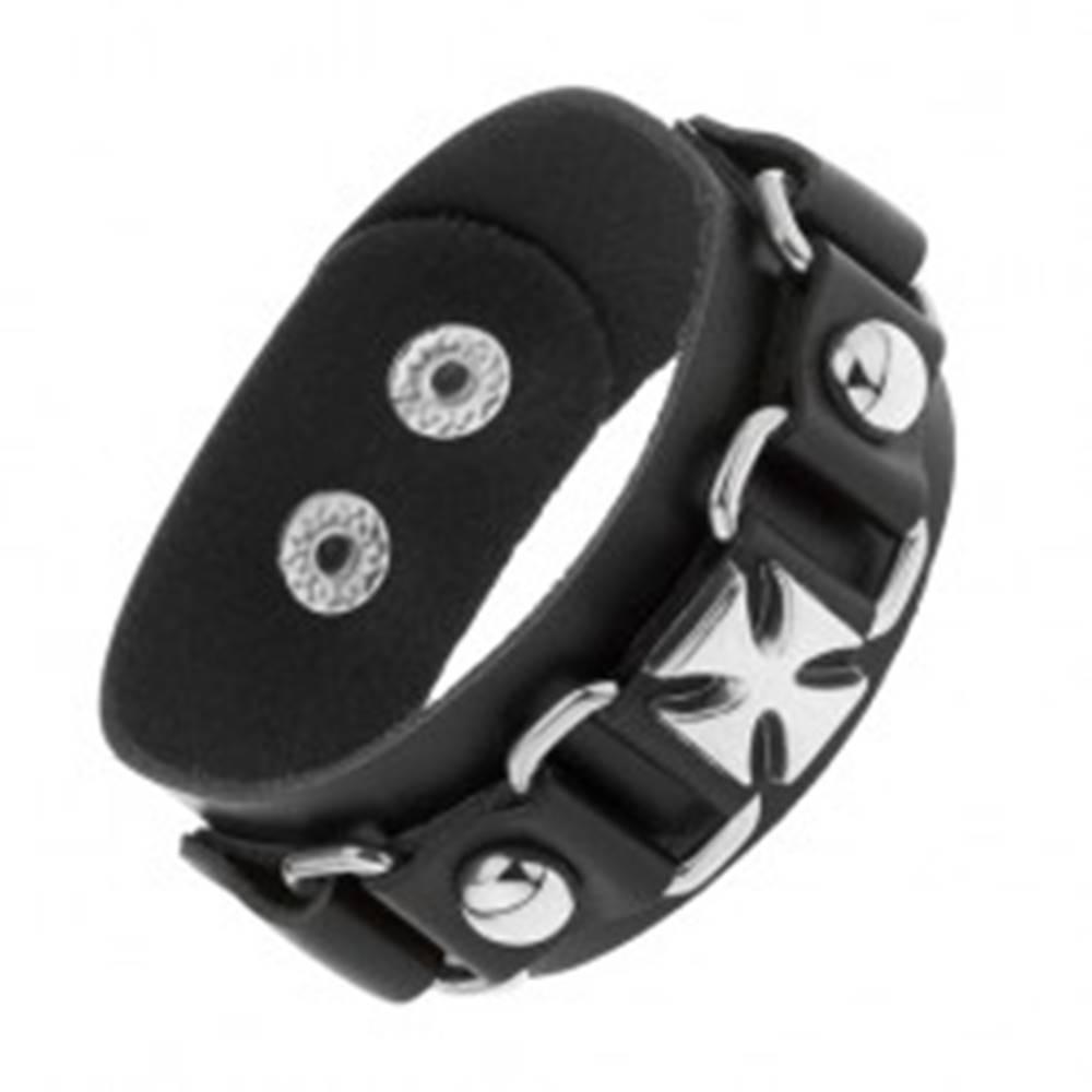 Šperky eshop Náramok z čiernej umelej kože, lesklé oceľové ovály, maltézsky kríž