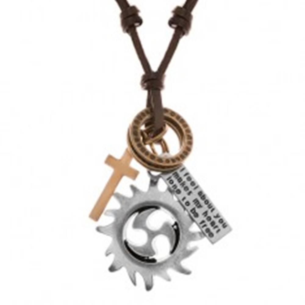 Šperky eshop Nastaviteľný kožený náhrdelník, prívesky - kruh tribal, obruče, kríž a známka
