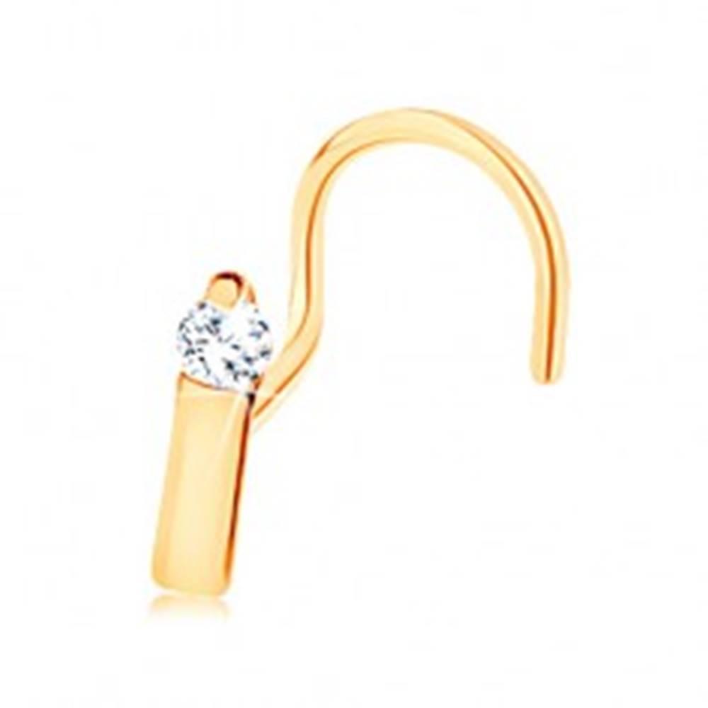 Šperky eshop Piercing do nosa v žltom 14K zlate - úzky pásik ukončený čírym zirkónom