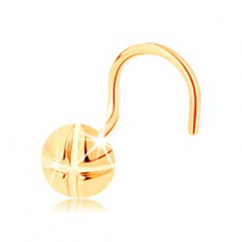 Šperky eshop Piercing do nosa v žltom 14K zlate, zahnutý - okrúhla skrutka so zárezmi