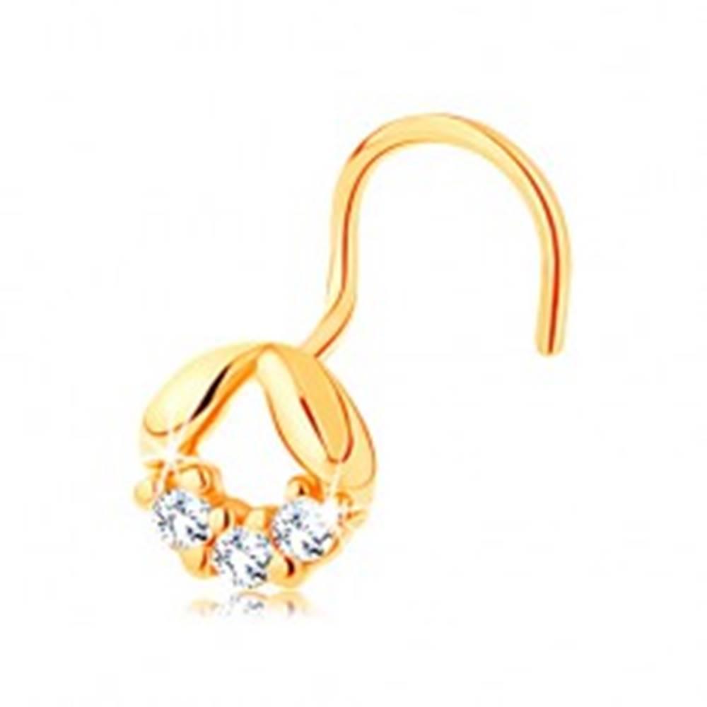 Šperky eshop Piercing v žltom 14K zlate, zahnutý - dva oblé lístočky a línia čírych zirkónikov