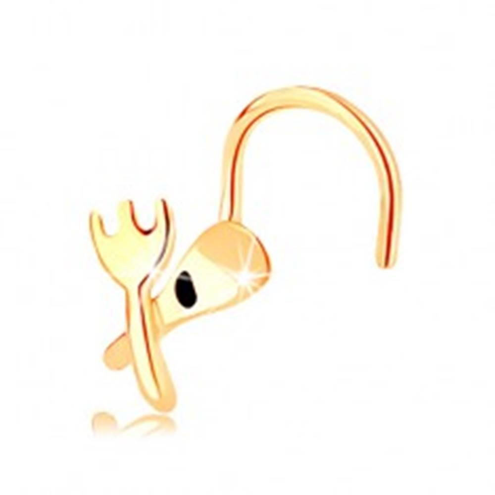 Šperky eshop Zahnutý piercing do nosa zo žltého 14K zlata - vidlička a lyžička