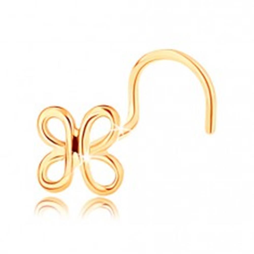 Šperky eshop Zahnutý zlatý piercing do nosa 585 - lesklá kontúra motýlika