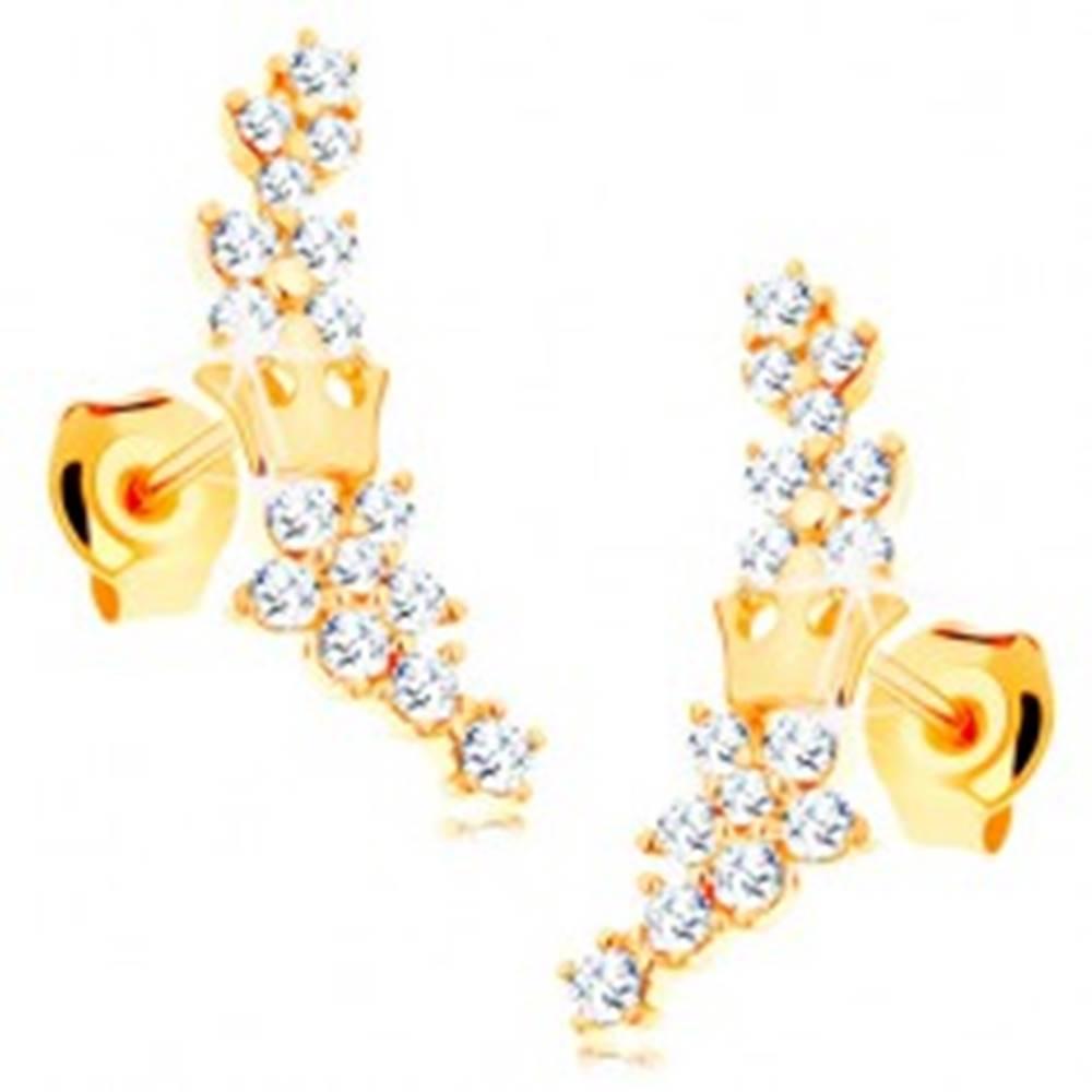 Šperky eshop Zlaté náušnice 585 - kvietky zo žiarivých čírych zirkónikov a malá korunka