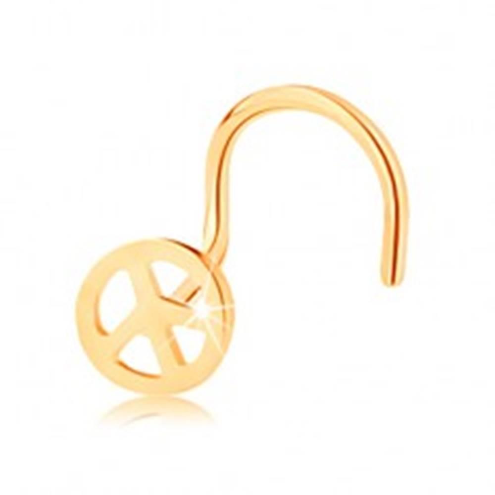 Šperky eshop Zlatý piercing 585, zahnutý - okrúhly symbol mieru, lesklý povrch