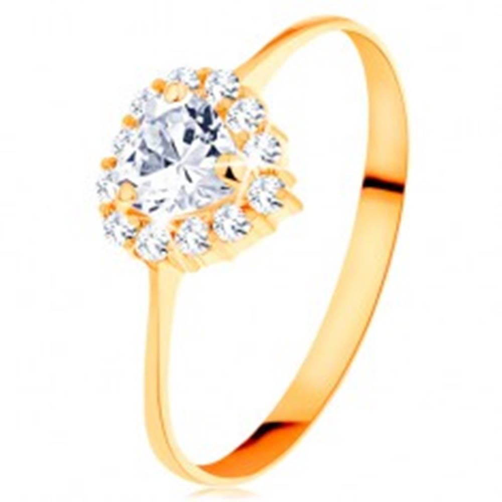 Šperky eshop Zlatý prsteň 585 - číre zirkónové srdiečko s trblietavým okrajom - Veľkosť: 49 mm