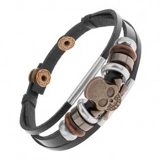 Náramok z kožených pásov s korálkami z kovu a dreva, lebka