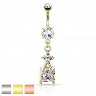 Oceľový piercing do bruška, trblietavý kvietok čírej farby, zirkónový štvorec - Farba piercing: Medená - číra