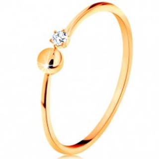 Prsteň v žltom 14K zlate - lesklé ramená ukončené guličkou a čírym zirkónom - Veľkosť: 51 mm
