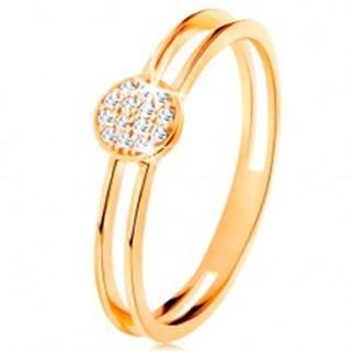 Prsteň v žltom zlate 585, tenké zdvojené ramená, kruh s čírymi zirkónmi - Veľkosť: 49 mm