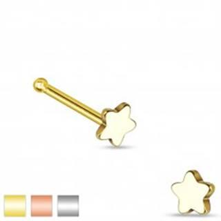 Rovný piercing do nosa z ocele 316L, malá päťcípa hviezdička - Farba piercing: Medená