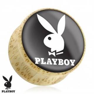 Sedlový plug do ucha z prírodného dreva, zajačik Playboy, čierny podklad - Hrúbka: 10 mm