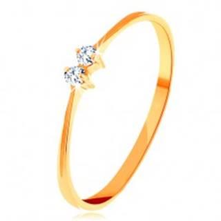 Zlatý prsteň 585 - tenké lesklé ramená, dva žiarivé zirkóniky čírej farby - Veľkosť: 50 mm