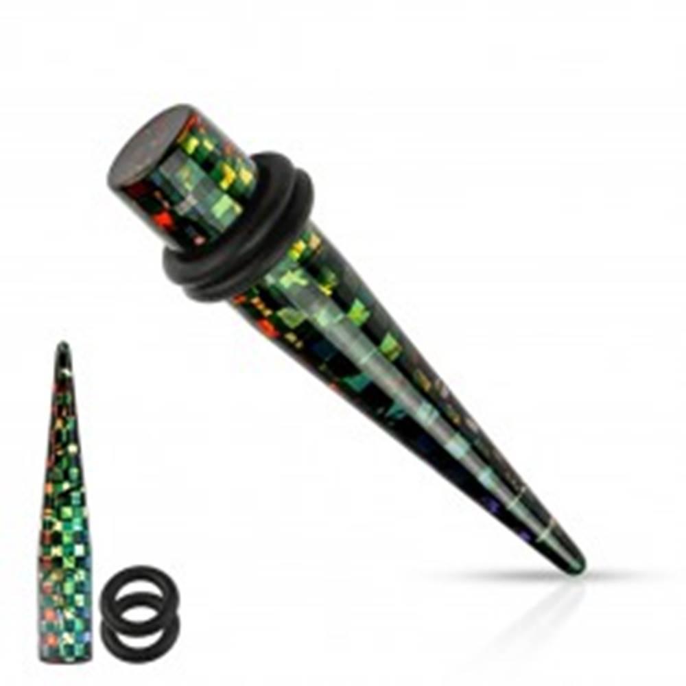 Šperky eshop Čierny akrylový taper do ucha, štvorčeky v dúhových farbách, rôzne veľkosti - Hrúbka: 3 mm