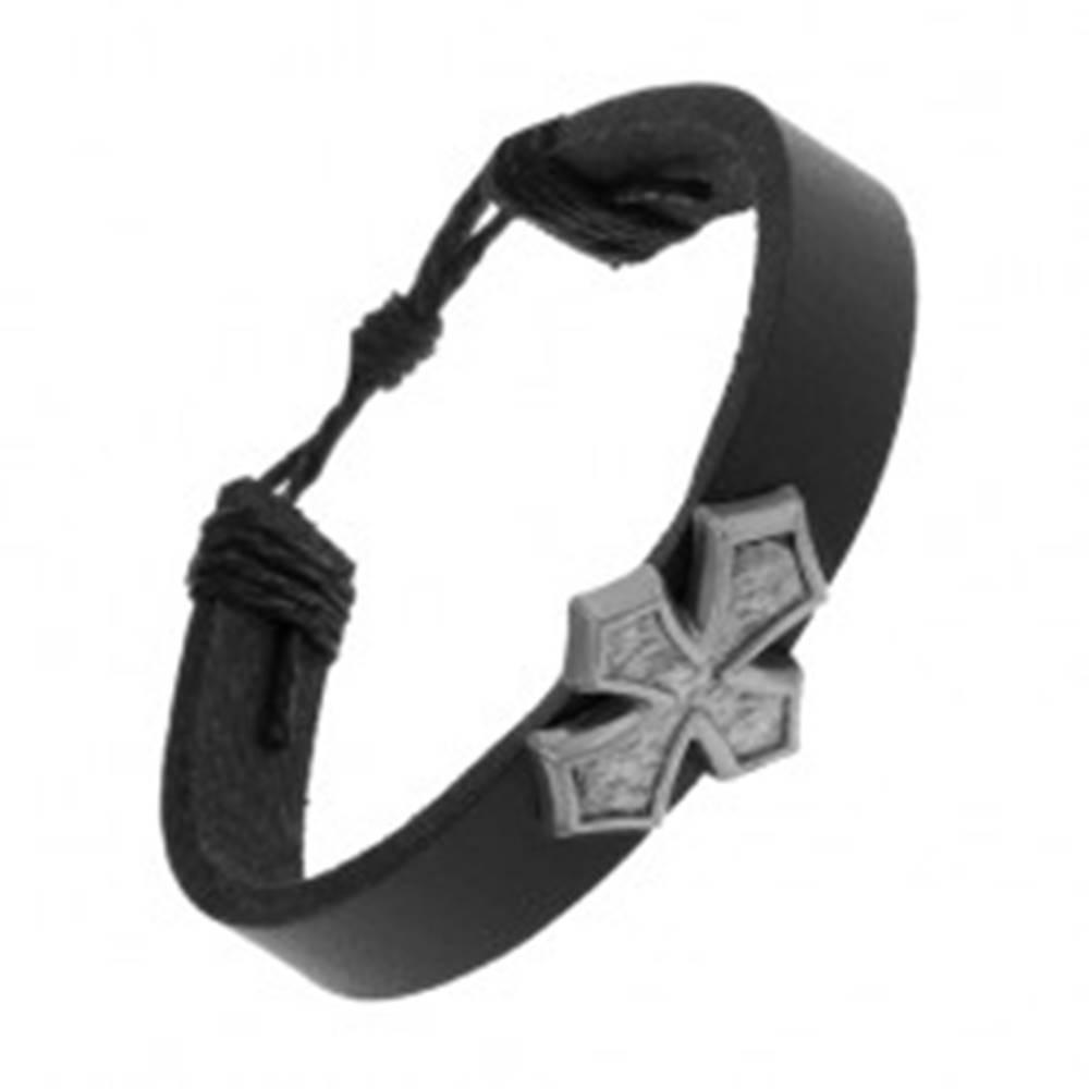 Šperky eshop Čierny náramok zo syntetickej kože, kríž s rozšírenými ramenami