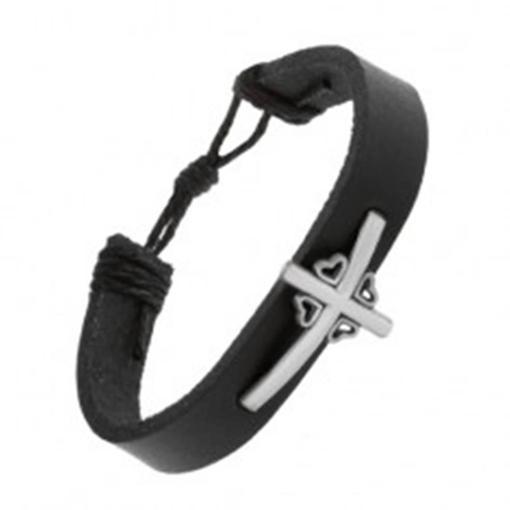 Šperky eshop Čierny náramok zo syntetickej kože, kríž so štyrmi obrysmi srdiečok