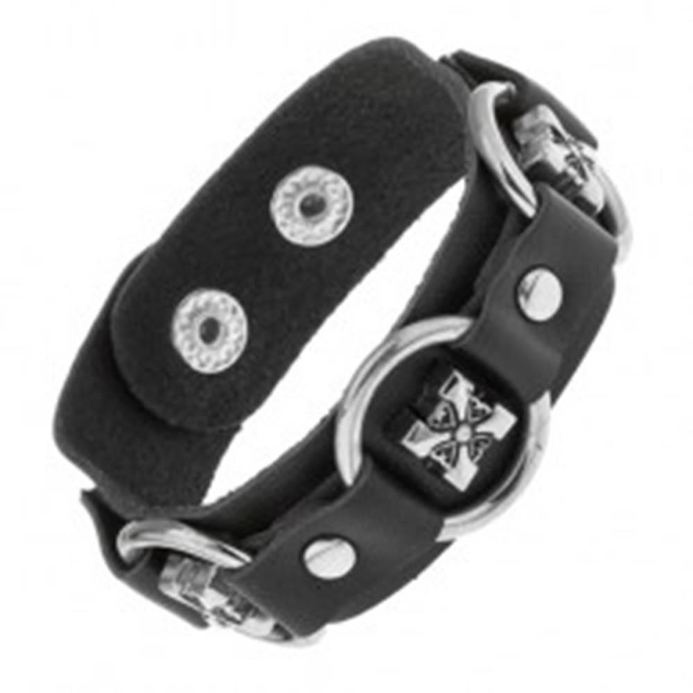 Šperky eshop Náramok z čiernej umelej kože, lesklé oceľové kruhy, ozdobné kríže