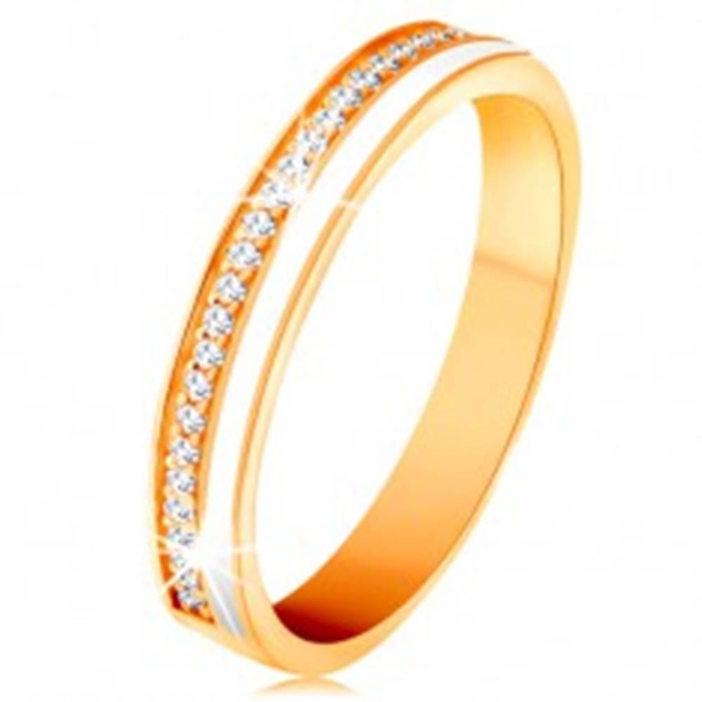 Šperky eshop Obrúčka v žltom 14K zlate - úzke línie z čírych zirkónikov a bielej glazúry - Veľkosť: 49 mm