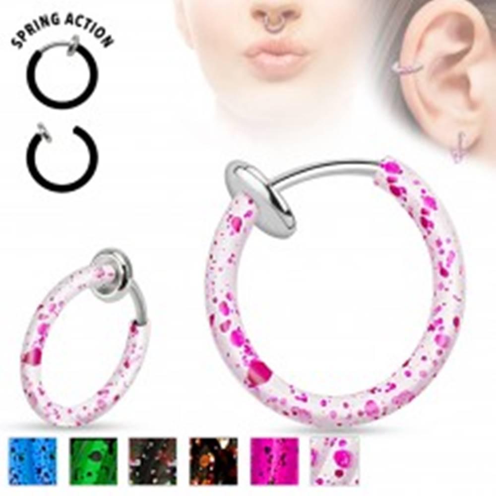 Šperky eshop Oceľový fake piercing do nosa alebo do ucha, krúžok pofŕkaný farbou - Farba piercing: Biela