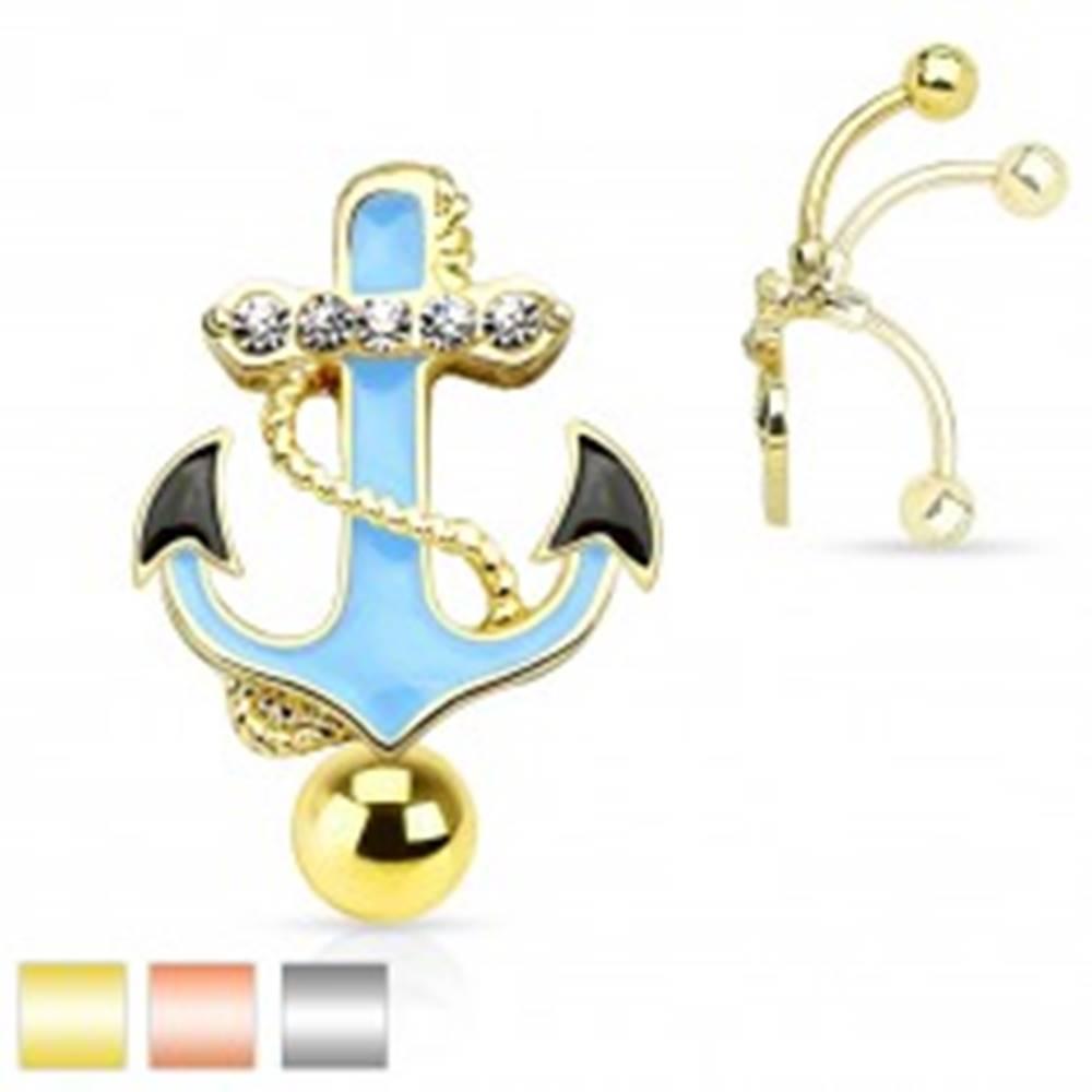 Šperky eshop Piercing do bruška z ocele 316L, modrá kotva s lanom a čírymi zirkónmi - Farba piercing: Medená