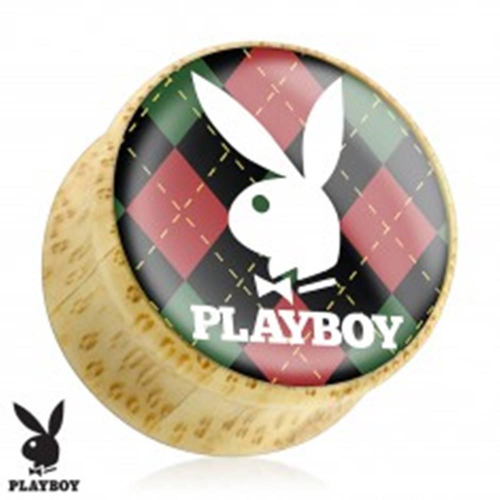 Šperky eshop Plug do ucha z bambusového dreva, zajačik Playboy na károvanom podklade - Hrúbka: 10 mm