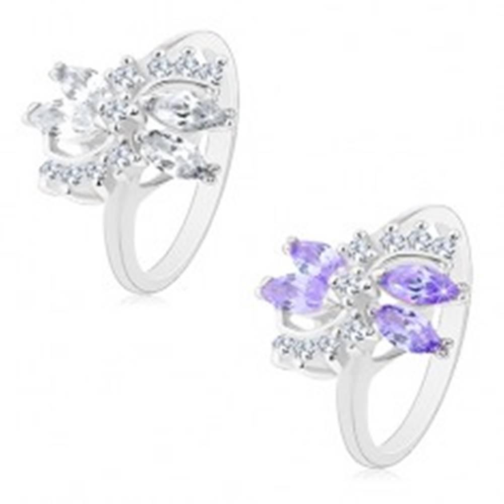 Šperky eshop Prsteň striebornej farby, dva číre oblúky, ligotavé zrnkové zirkóny - Veľkosť: 49 mm, Farba: Číra