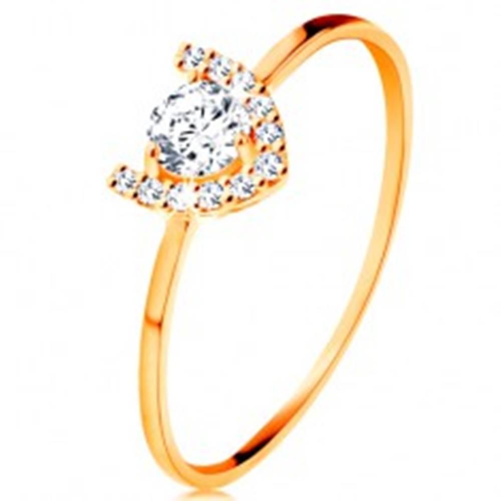 Šperky eshop Prsteň v žltom 14K zlate - trblietavá podkova, veľký okrúhly zirkón - Veľkosť: 49 mm