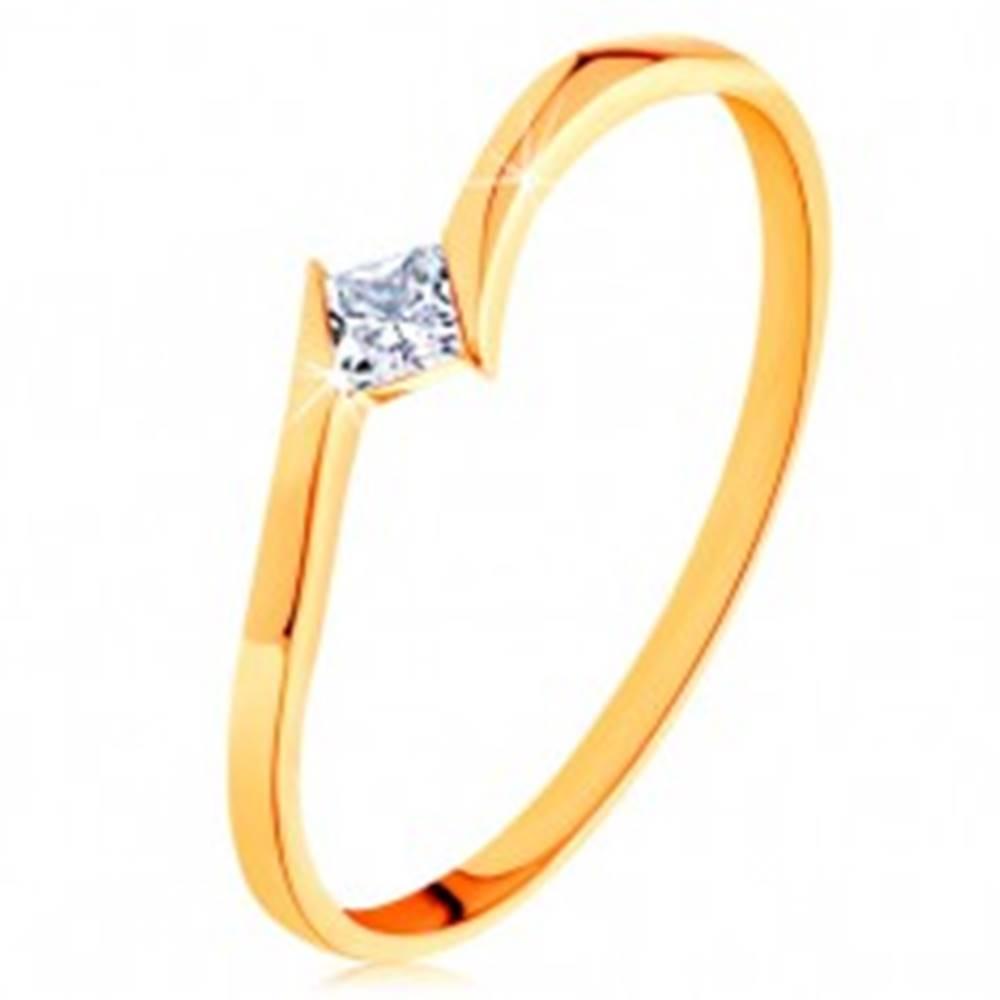 Šperky eshop Prsteň v žltom 14K zlate - zahnuté konce ramien, štvorcový zirkónik - Veľkosť: 50 mm