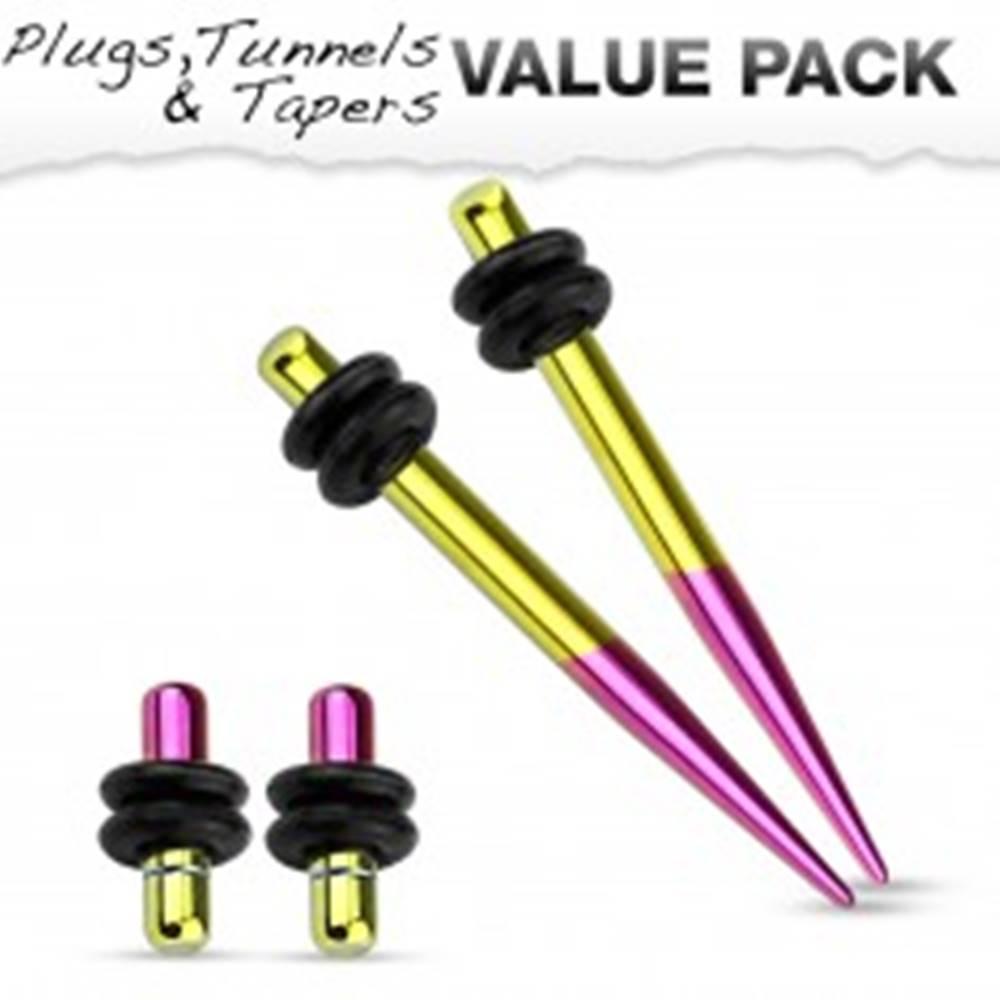 Šperky eshop Set dvoch expanderov a dvoch plugov z ocele 316L, žltá a fialová farba - Hrúbka: 1,6 mm