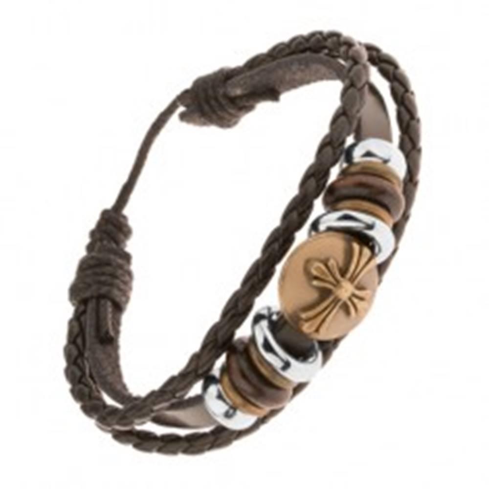 Šperky eshop Tmavohnedý kožený náramok, korálky, kruh s ľaliovým krížom mosadznej farby