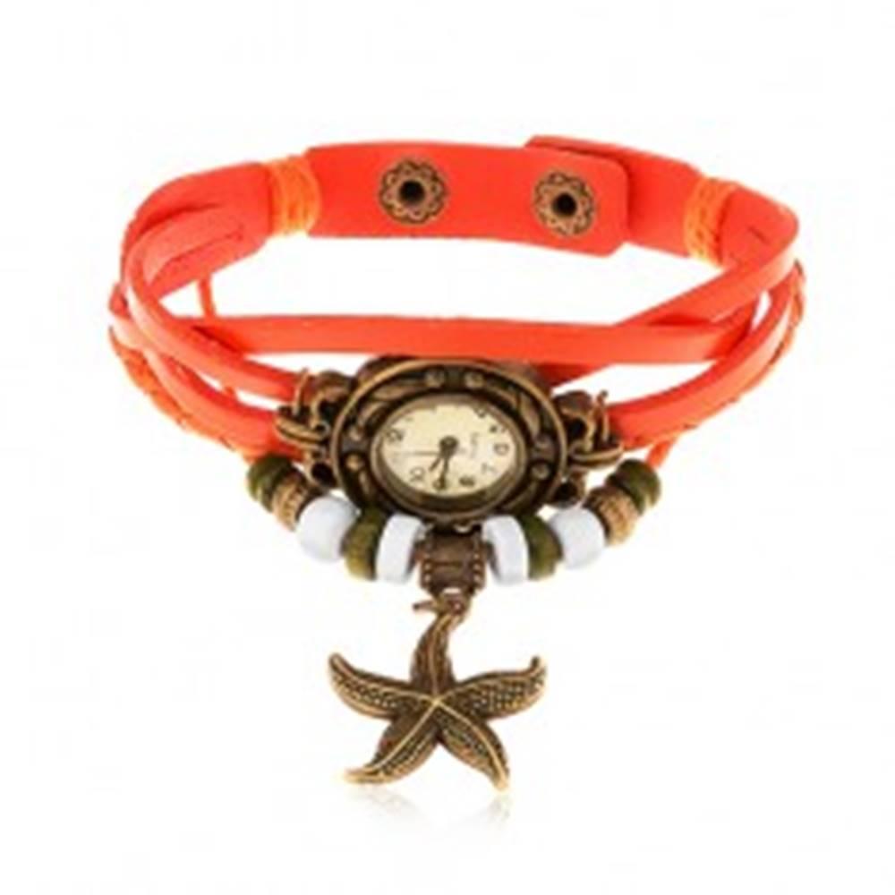 Šperky eshop Analógové hodinky, ozdobne vyrezávané, pletený remienok oranžovej farby