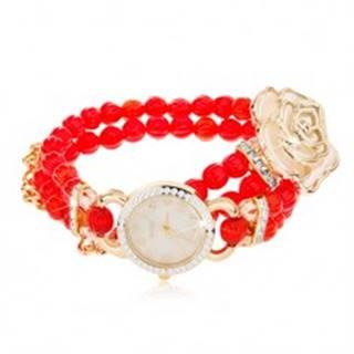 Analógové hodinky, korálkový červený náramok, ciferník so zirkónmi, biela ruža