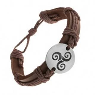 Hnedý náramok zo syntetickej kože a šnúrok, kruh s čiernou špirálou Tribal